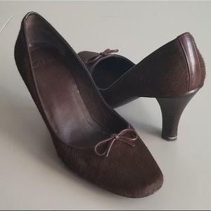 Brown Delman Haircalf Heels
